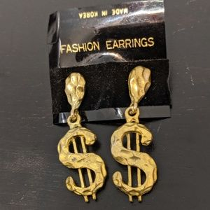 Vintage gold tone dollar sign earrings $$$